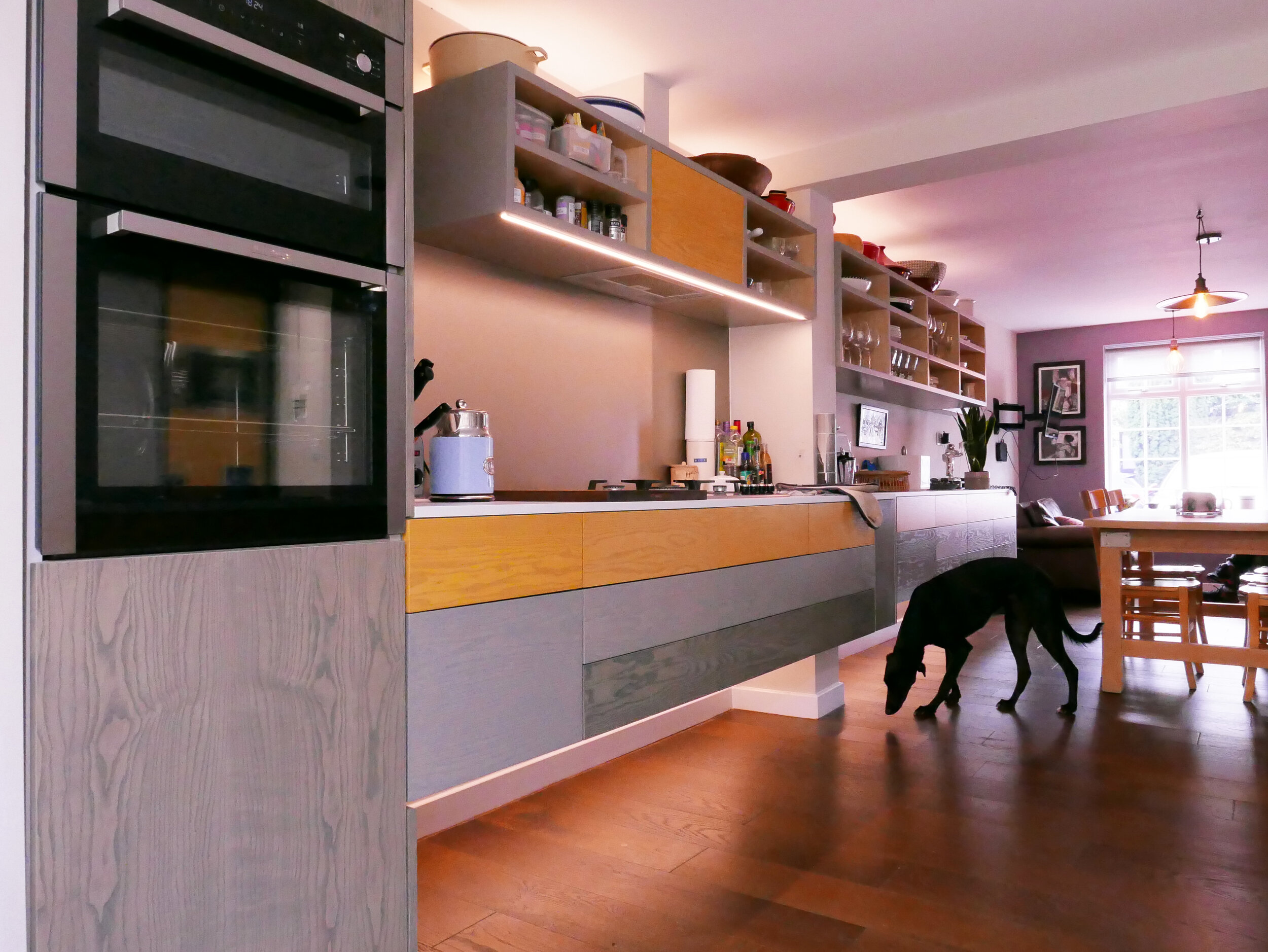 Bespoke Kitchen Design Open Plan Living Strip Lights Touch Sensor Operated