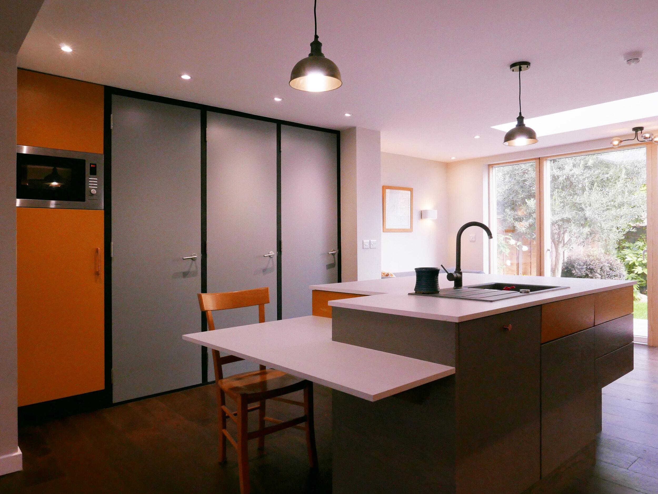 RetroFirst Ergonomically Designed Island Unit Re-clad Fire Doors Integrated Fridge