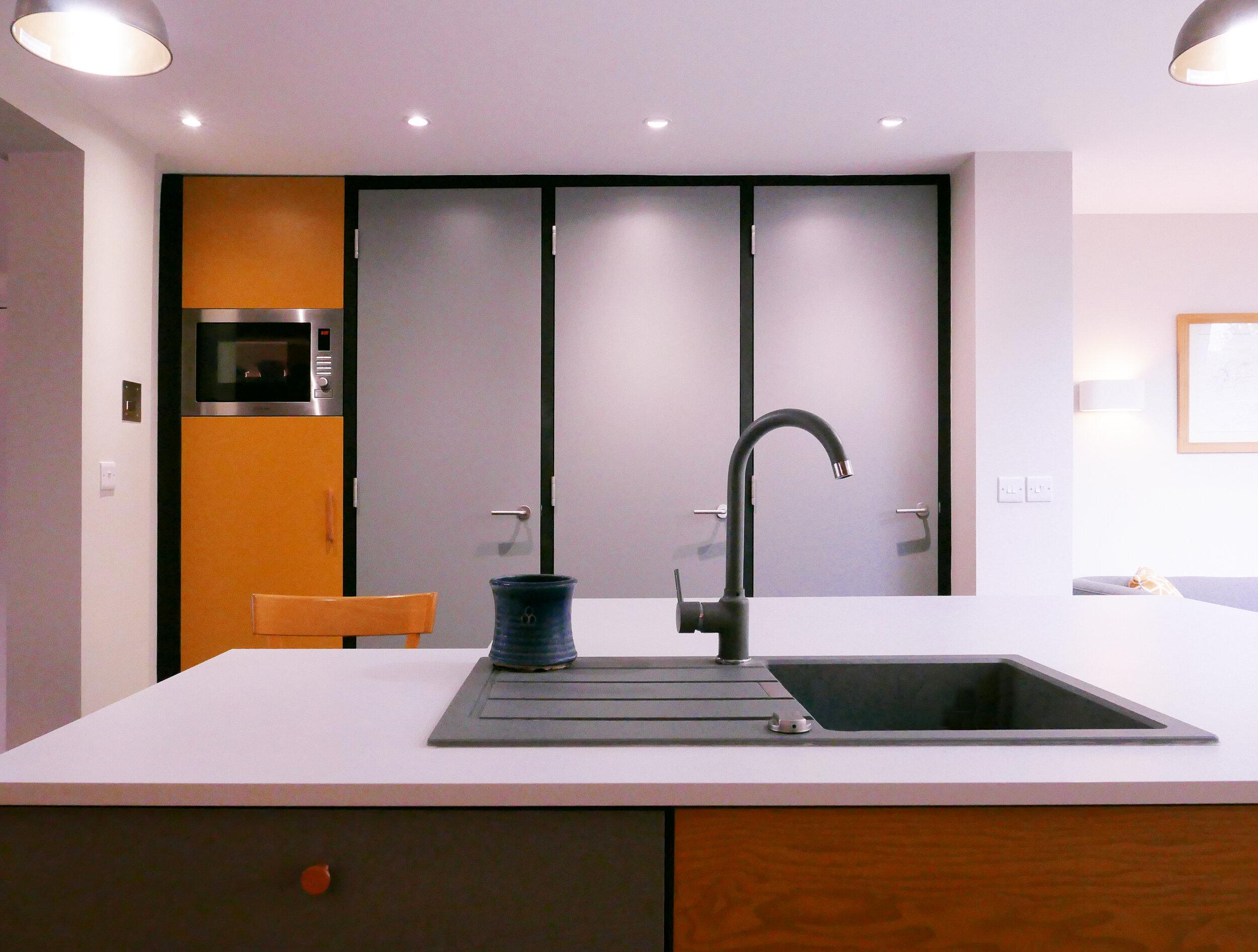 RetroFirst D line ironmongery Handles on Re-clad Fire Doors Utility Wall Design