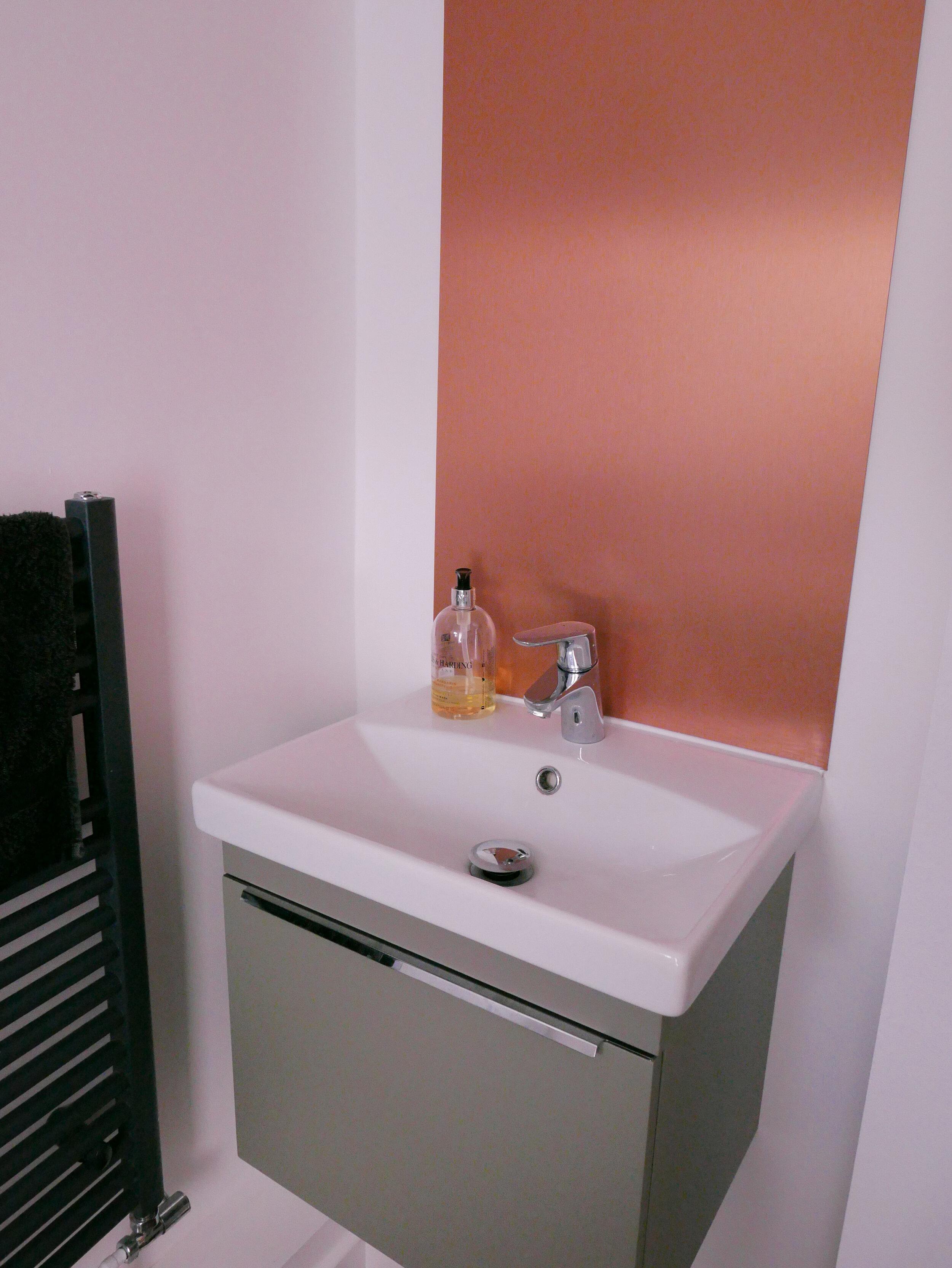 Copper Backsplash Accessible WC Design South Woodford