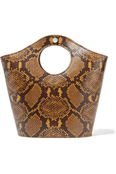 Elizabeth and James Market Shopper Small Snake-Effect Leather Tote $345,  Net-A-Porter.com