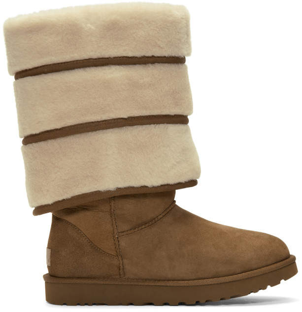 Y/Project Brown Uggs Edition Layered Boots  $800,  ssense.com