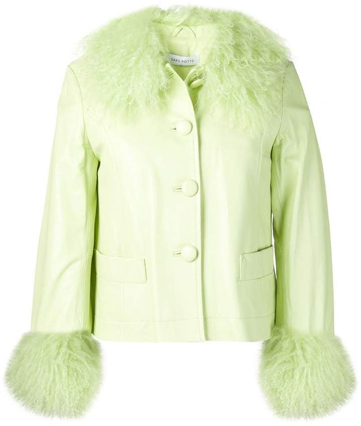 SAKS POTTS - Leather Fur Trimmed Jacket $817, farfetch.com