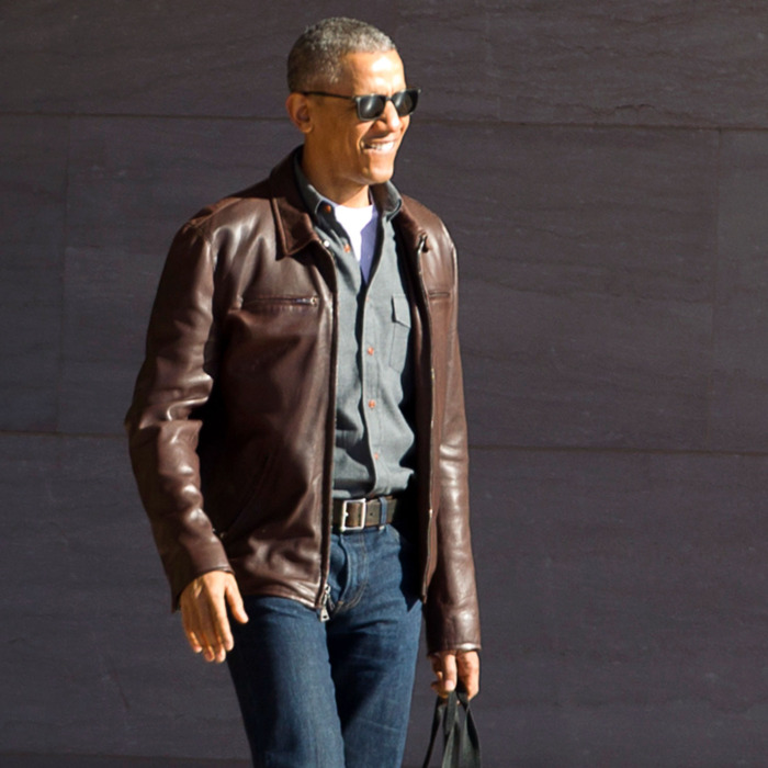 Barack Obama in a brown leather jacket and denim on denim. Image Courtesy:  The Cut