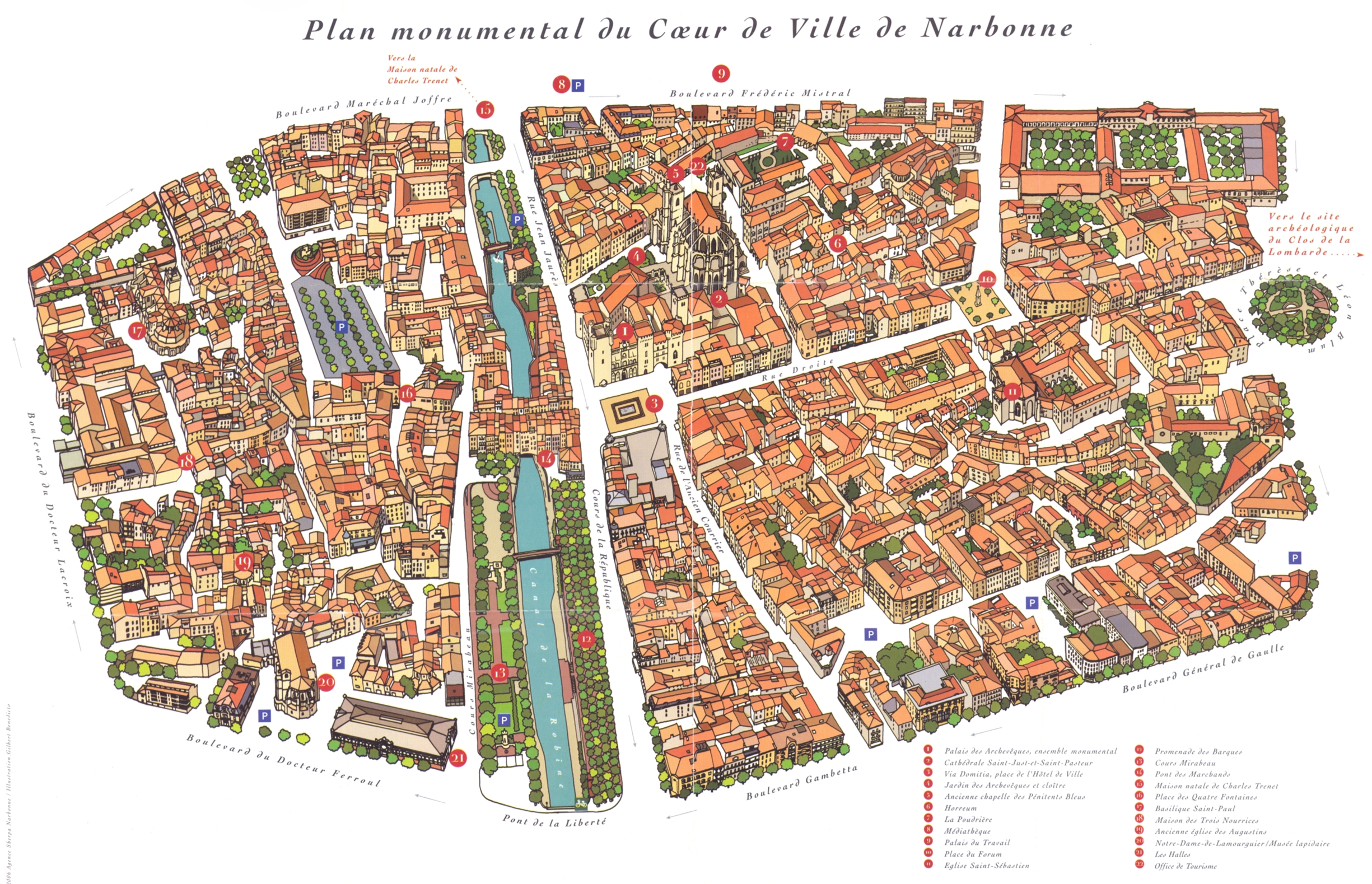 map of Narbonne, the canal cutting through the center of town