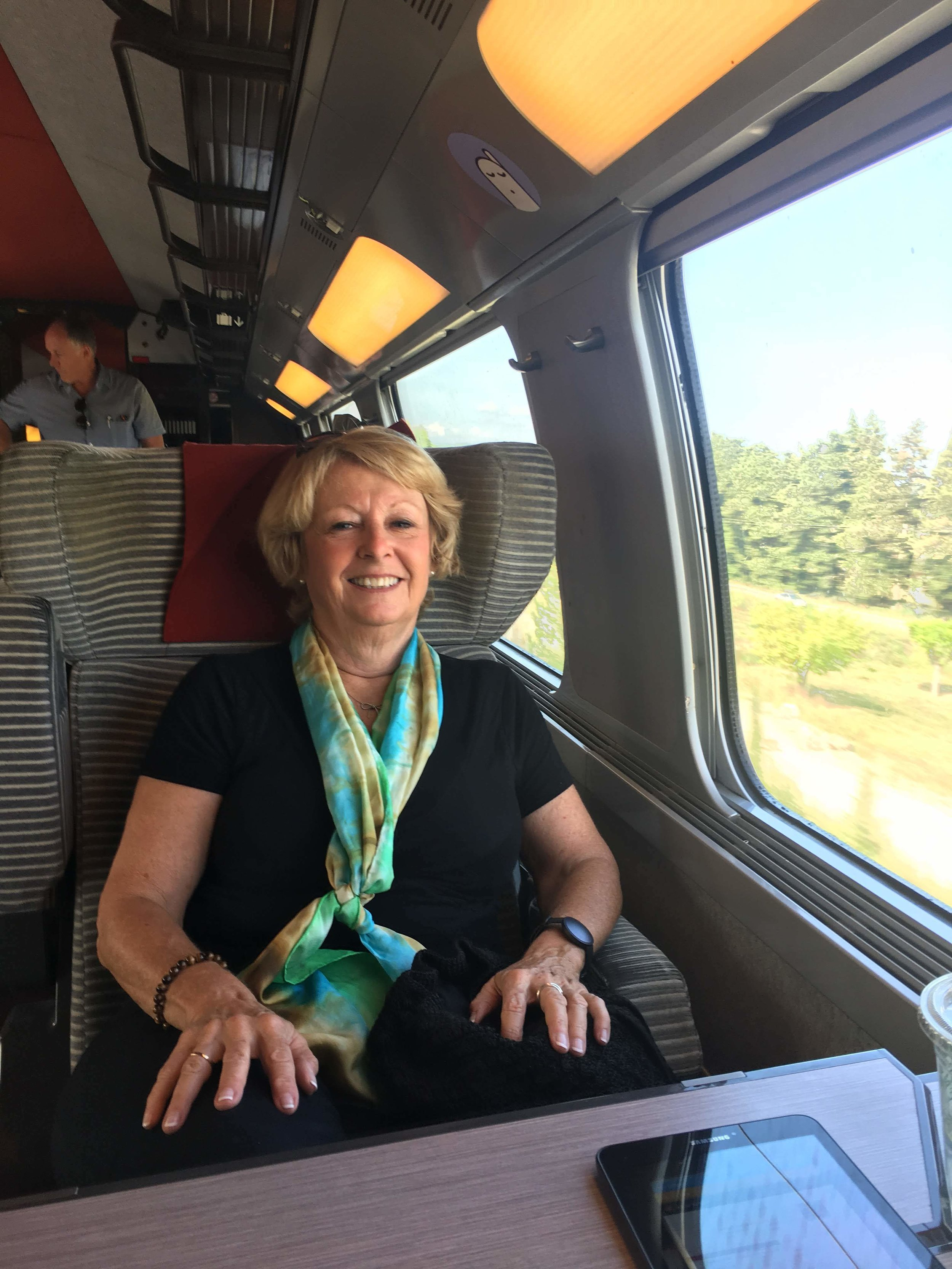 Carol settled right into the comforts of first class train travel