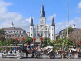 Jackson Square  with  St. Louis Cathedral  could just as easily exist in downtown Lyon or Bordeaux