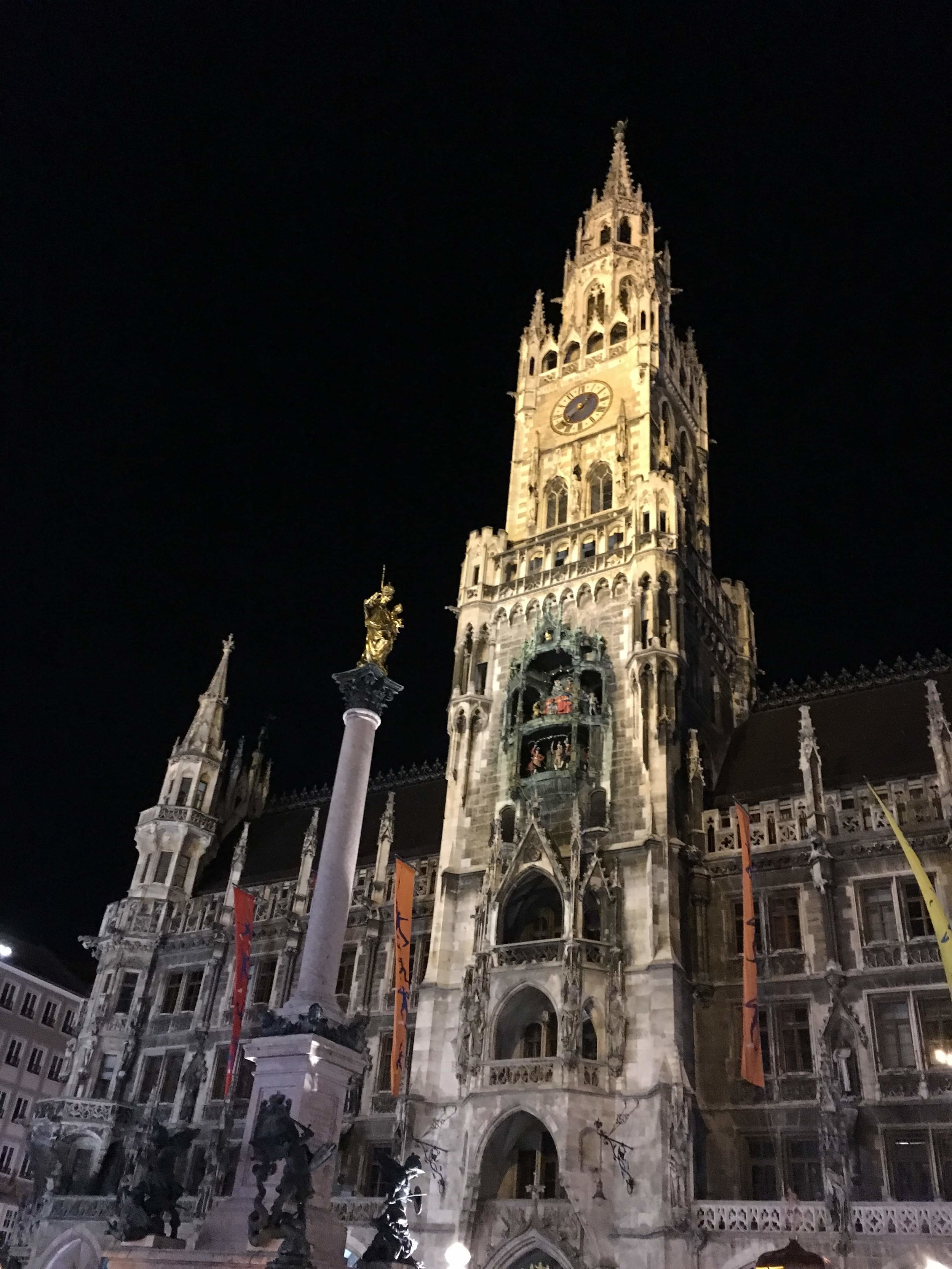 """Munich's famous Glockenspiel at Marienplatz was Carol's first of many """"wow' moments during our short visit here"""