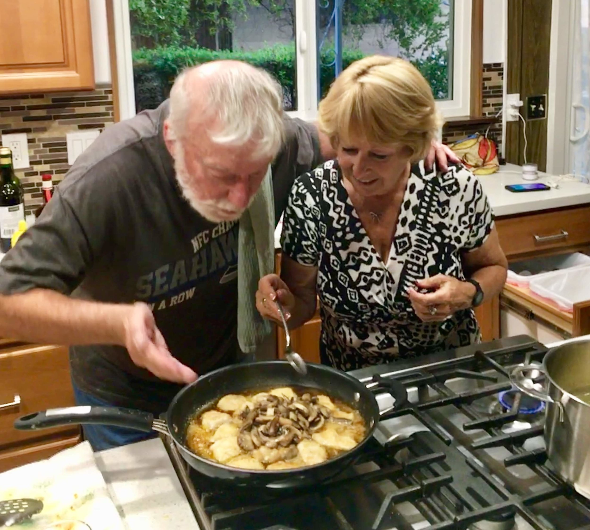 """My first """"big cook"""" for Carol was chicken marsala, a good start to spoiling her"""