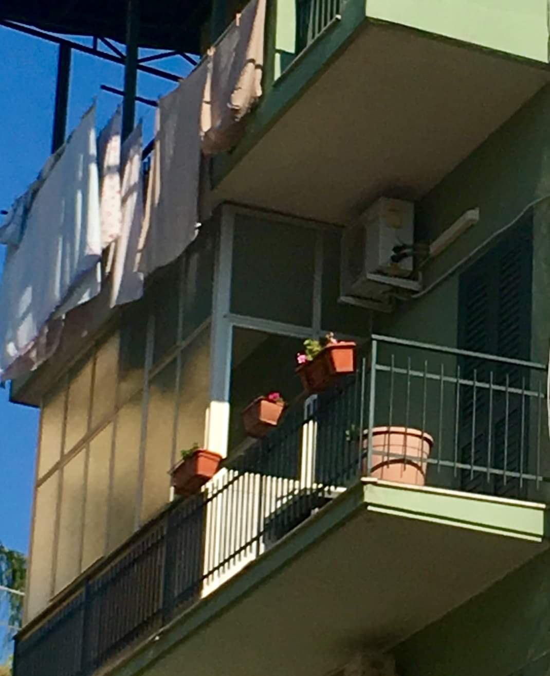 The simple balcony offered a great view of Sicily
