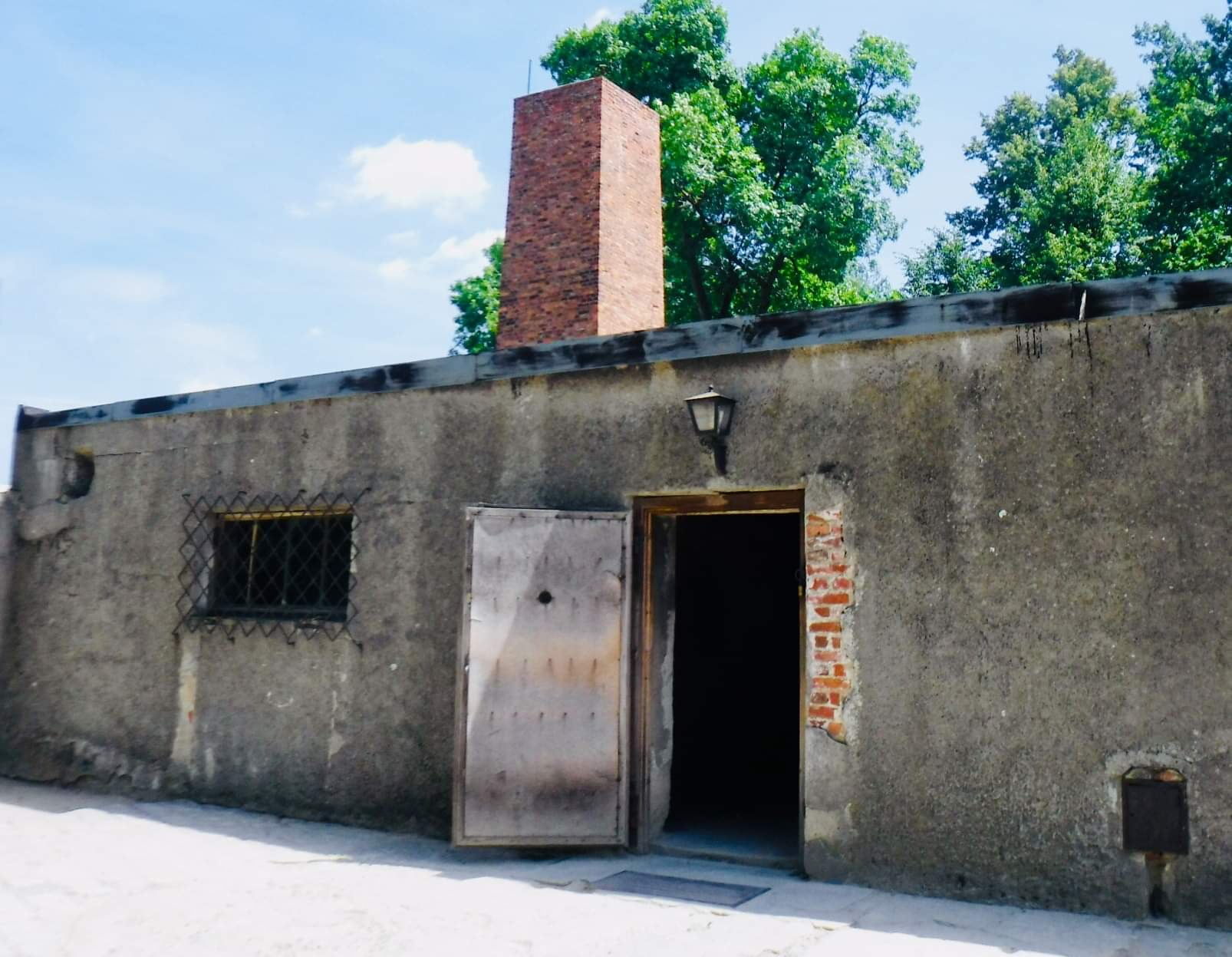 """Auschwitz death chamber;  """"this is not a sanatorium, the only exit is by way of the Chimney."""" --Primo Levi  Survival in Auschwitz"""