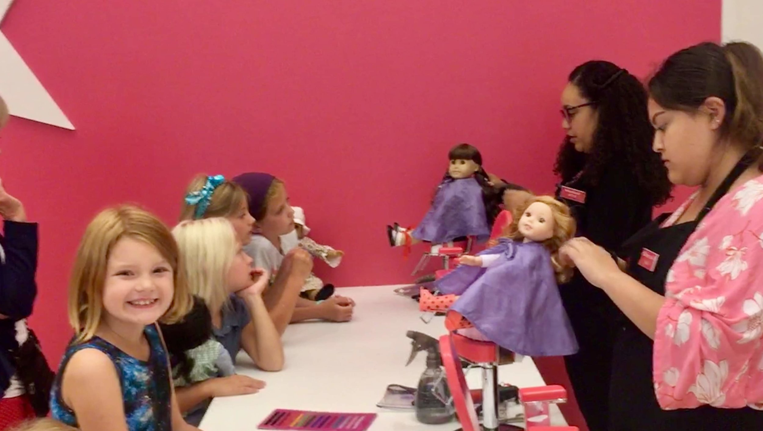 Seriously, a wash and set and earrings,  American Girl Doll Salon, Chicago