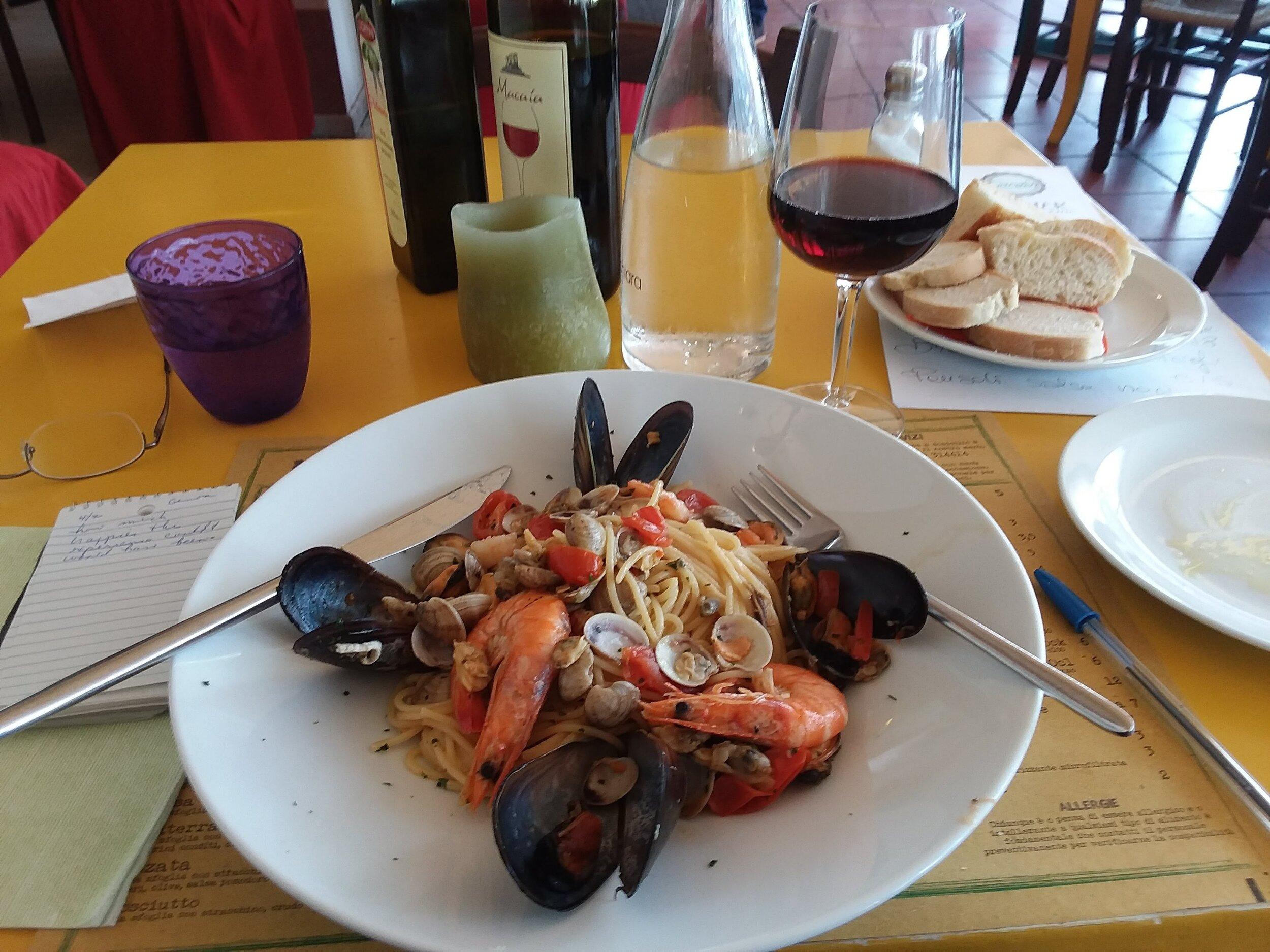 Seafood pasta in Genoa