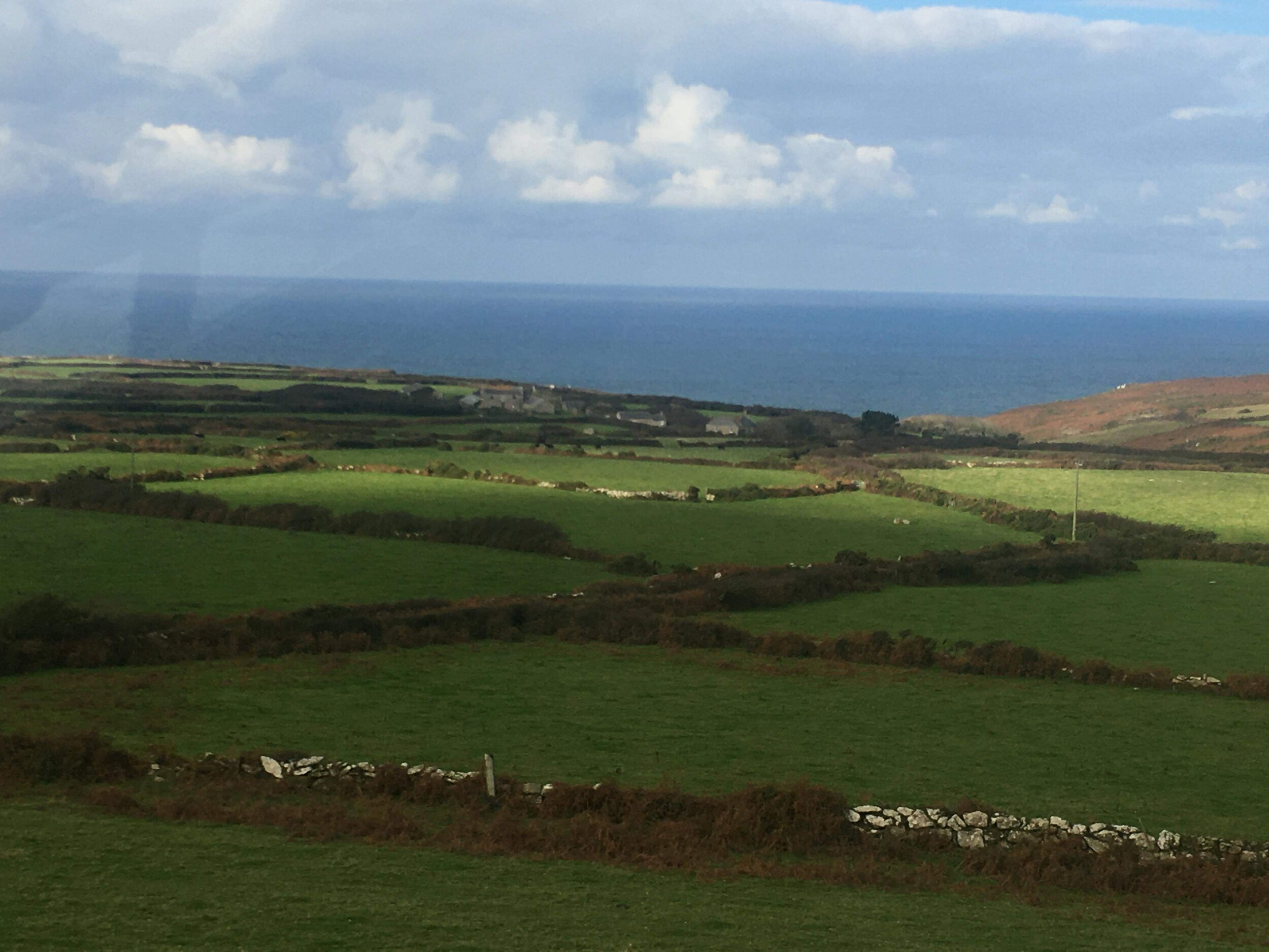 The Cornish coast as seen and enjoyed from the comfort and safety of the A2 to Lands' End.