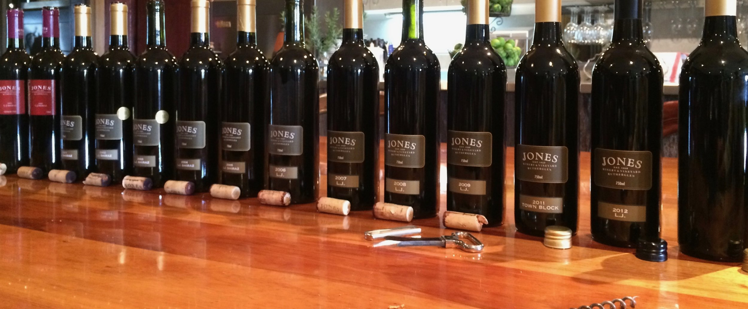 Vertical tasting of L.J. wines. This extraordinary wine is made from a Shiraz vineyard that has over 110 years of age.