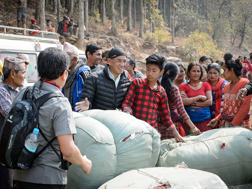 During a 2017  Vision Trip , ARDF partners distributed aid supplies in the mountains of Nepal.