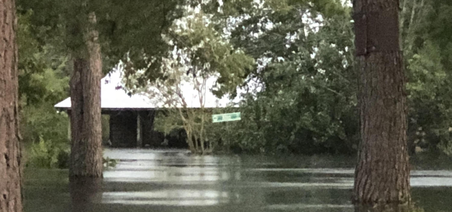 Flood waters have yet to recede in Conway, SC, delaying the start of any reconstruction work.