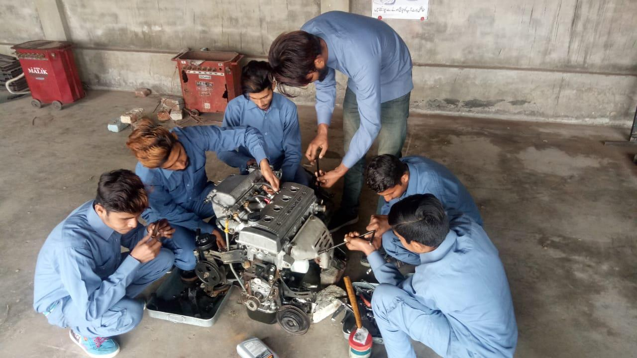 Training on engine repair is part of the course for boys at CVTC.