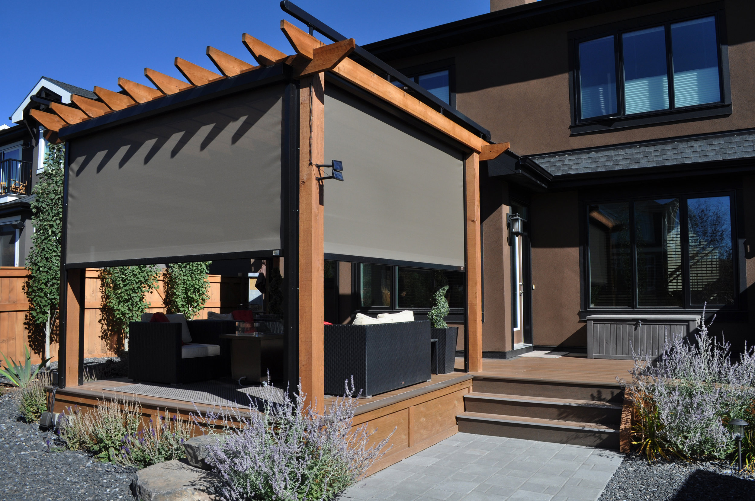 PERGOLAS - Adding solar screens to your pergola or gazebo creates an inviting outdoor space, adding protection from harmful UV rays and windy days.
