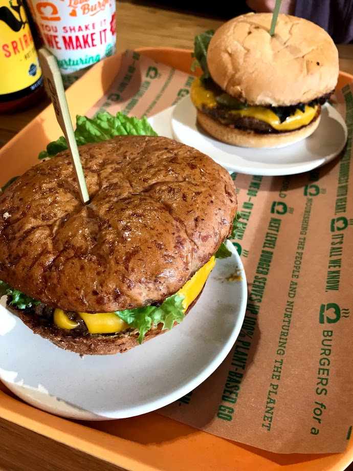"The Special Burgers, made with a ""meaty"" patty and convincingly real ""cheddar"" style cheese."