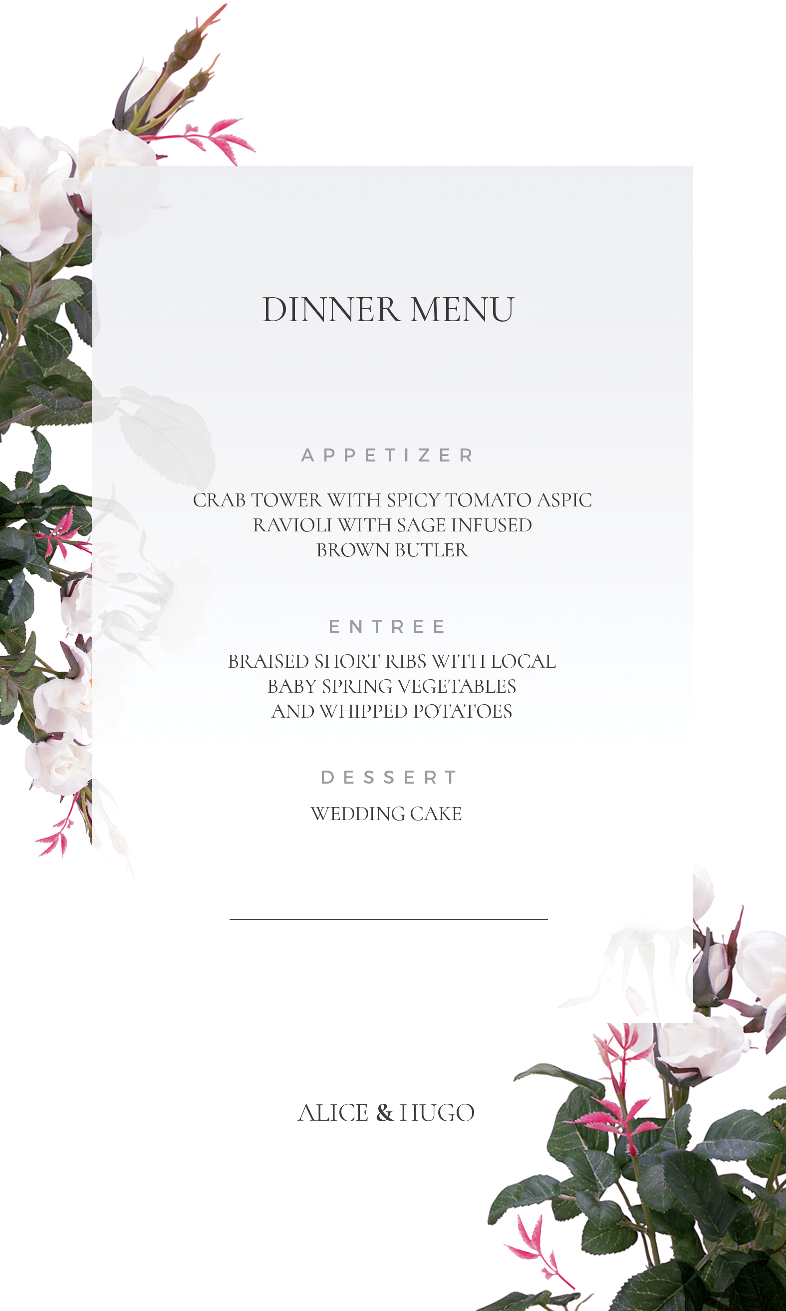 Purity - Menu Cards