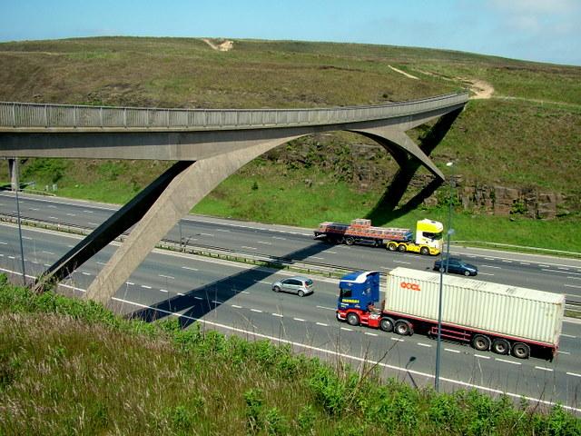 The high Pennine Way footbridge that spans the M62