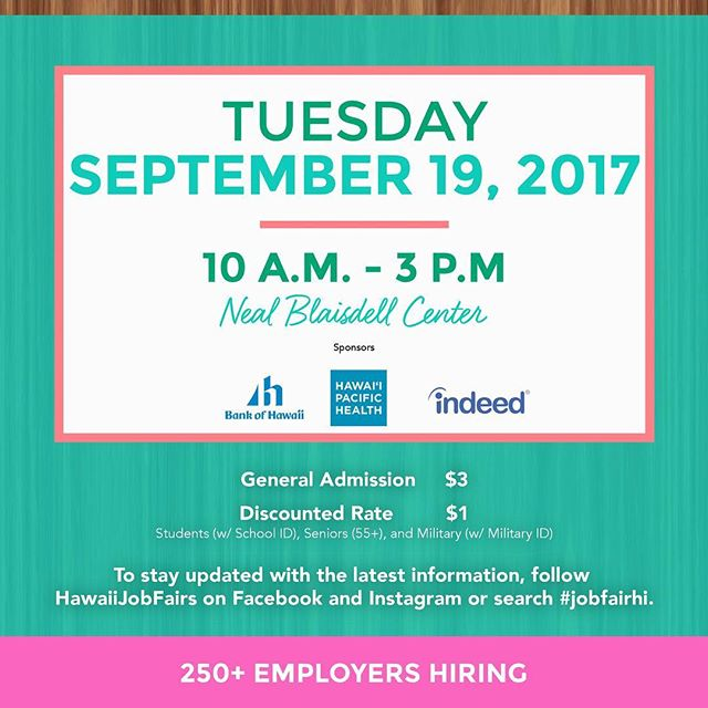 Save the date! #jobfairhi #luckywelivehawaii