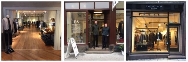 Et utdrag fra Prinsens gate: Livid Jeans, brødrene Emil og Alexander foran F5 Concept Store, og Rag &Bone.