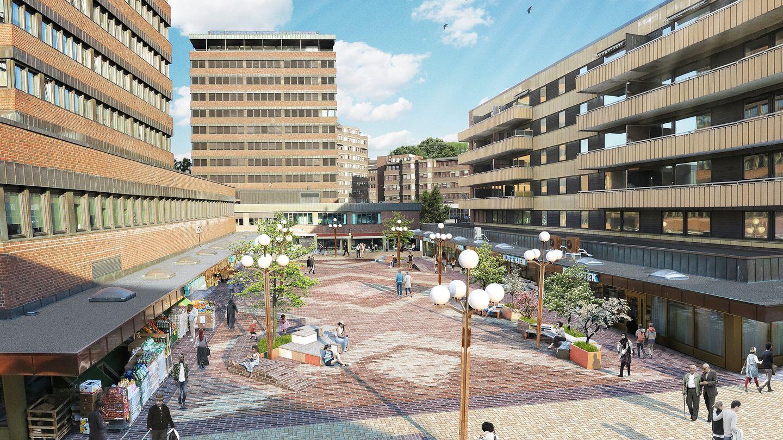 Slik vil det se ut, når Bymiljøetaten er ferdig med oppgraderingen av Tøyen Torg i slutten av mai. Ill: Grindaker Landskapsarkitekter
