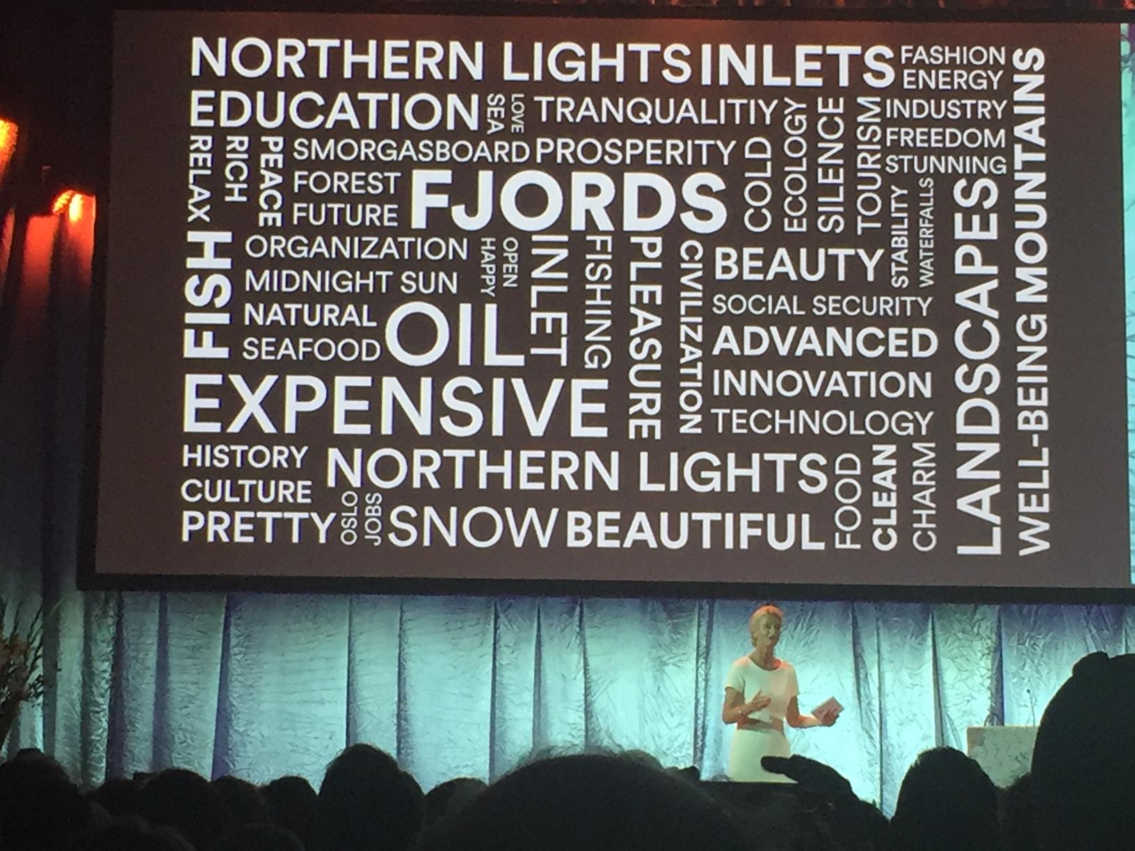 Direktør for Merkevaren Norge i Innovasjon Norge, Cathrine Pia Lund, presenterte blant annet resultatene av en del av analysene som er gjort av Norge internasjonalt. Ordskyen her er ingen overraskelse, men det er avdekket store muligheter i assosiasjoner knyttet til utfordreren, utforskeren, oppdageren og pioneren. Der har Norge som nasjon en posisjon allerede, og en mulighet til å ta en ennå sterkere posisjon i fremtiden.