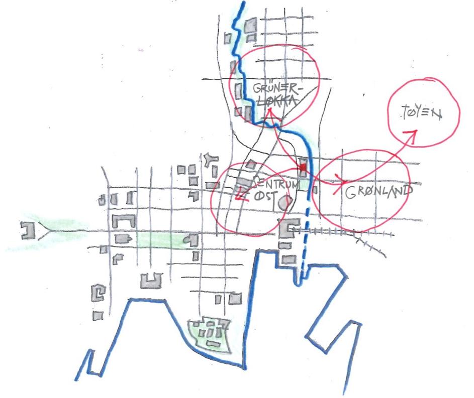 Det er mange store planer på Grønland, med fokus rundt Akerselva, Galleri Oslo, Landbrukskvartalet, Botsen, og mer. Og rundt på Grønland finnes en rekke gårdeiere som bør ta et større ansvar for området sitt, slik gårdeierne på Tøyen Torg gjorde. Illustrasjon: Øystein Grønning, Migrant AS.