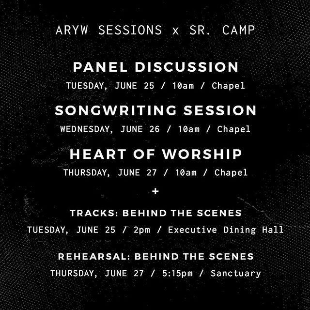 We are so excited about the upcoming ARYW Sessions at @arkansasyouth Senior Camp! ✖️ Let us know in the comments below if we'll see you there! ✌️
