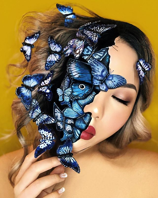 OUT OF HER MIND 🦋 This is all #makeup on my face and hand-painted paper #butterfies on my hair and nails. 🦋  Tag a friend who needs to stop thinking so much.   Used @kryolanofficial Aquacolors, @suvabeauty Hydraliners, @cozzettebeauty Infinite eyeshadows for the butterflies on my face. Painted the paper butterflies on my hair and nails using @goldenpaints Acrylics. For the beauty side, I used @kevynaucoin Skin Enhancer, @tartecosmetics Tartelette, @cozzettebeauty Infinite Blush Palette, @makeupforeverofficial Aqua Brow, @makeupforeverca Pro Fusion Light 2 and @maybelline Super Stay Matte Ink Lip Color in 80 Ruler.   Inspired by the digital art of @prolific_ak.