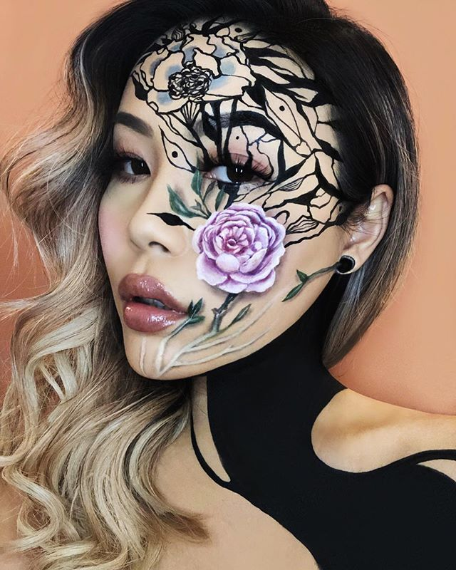 """This is freehand #makeup • The Devouring — """"I never wanted a quiet, sensible sort of love. I wanted to be devoured."""" 🌹 - @beautaplin   A #floral doodle therapy session using @maccosmeticscanada @maccosmetics Acrylics, @kryolanofficial Aquacolors and @makeupforeverca Flash Case. The beauty base was done using @makeupforeverofficial Matte Velvet Foundation, Ultra HD Concealer, @cozzettebeauty Infinite Blush Palette, @urbandecaycosmetics Naked Cherry, @kevynaucoin Peonine lipgloss and @blackmagic Cosmic Kitten Lashes.   Inspired by emotions and digital art of @melaamory. """