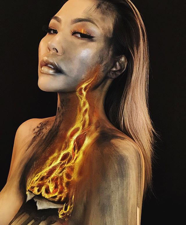 """This is #MAKEUP • LET IT BURN 🔥 #lit   My goal in life is to outrun my mind, my feelings.  Products: @makeupforeverca Flash Case  @makeupforeverofficial Ultra HD Invisible Cover Cream Foundation Palette, Pro Fusion Light 2 @kryolanofficial Aquacolor  @maccosmetics Acrylic Paints @maccosmeticscanada Chromacake  This is an extension of my old look """"Fire Eyes"""". See story for evolution. Inspired by a digital artwork I found on Google images, artist unknown."""