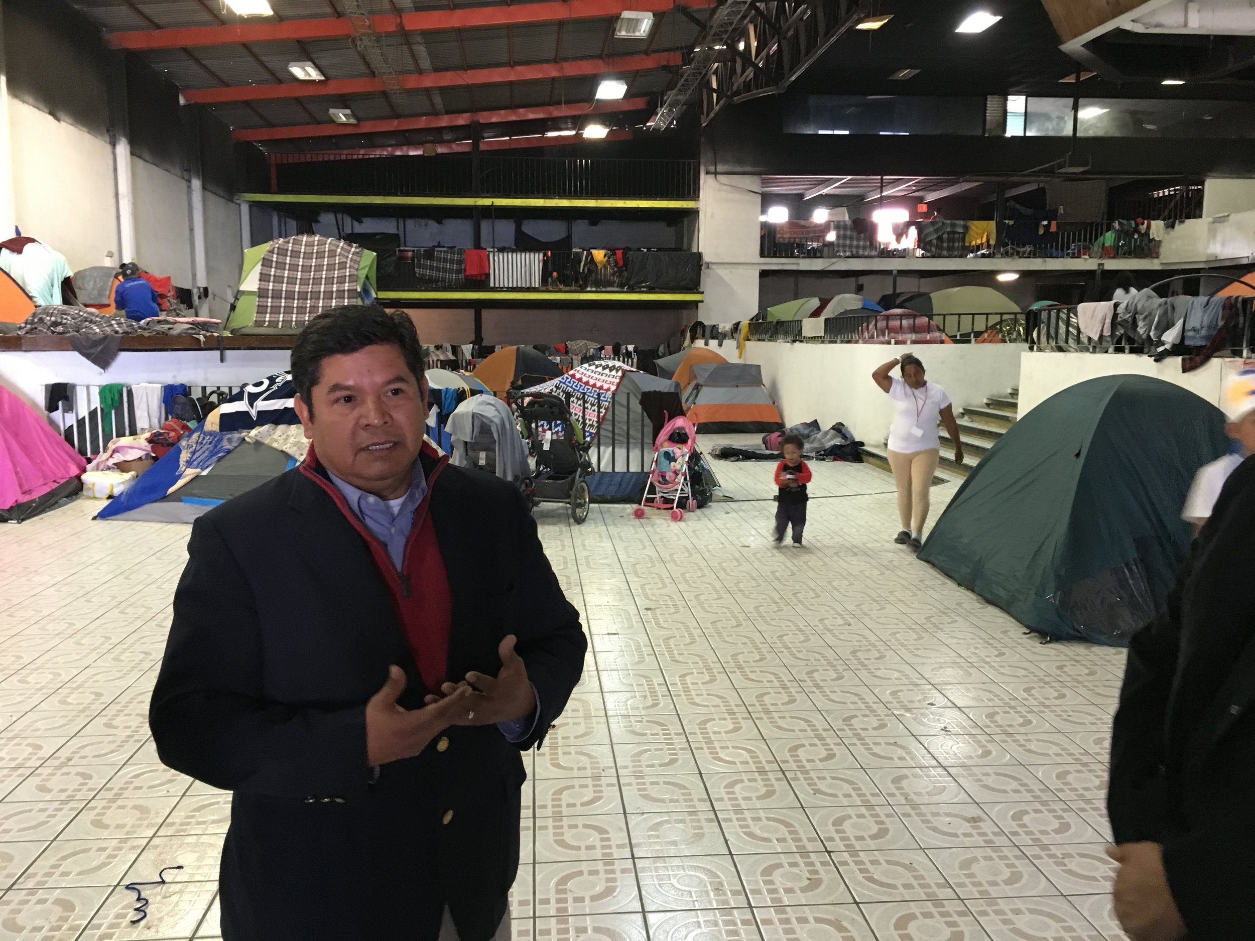 Juvenal Gonzalez at women's and children's shelter at El Barretal