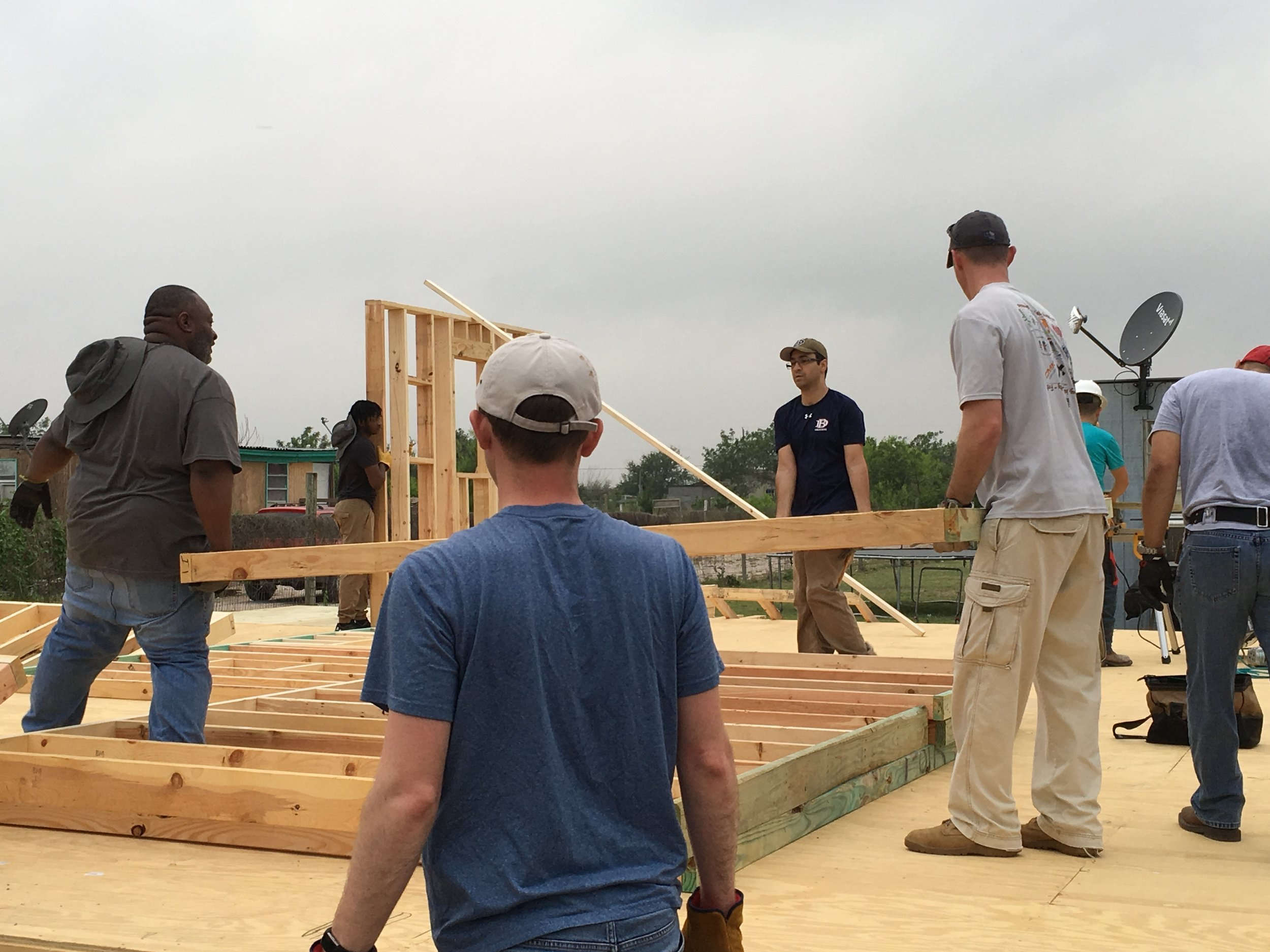 Members of University Baptist Church in Houston and Valley Ranch Baptist Church in Coppell, Texas, teamed up to build a home with a family in a colonia in Peñitas, Texas, during spring break week 2019.