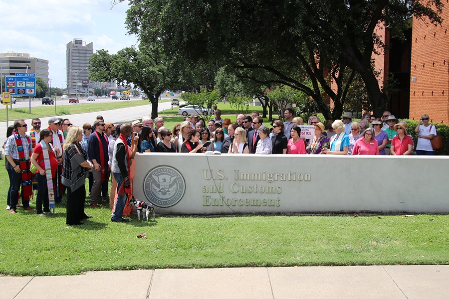 About 150 people of faith gathered at ICE headquarters in Dallas to pray for the plight of asylum seekers, and particularly separated families and detained children, July 1 in Dallas. (Photos courtesy Kim Kaufman, North Texas Conference of The United Methodist Church)
