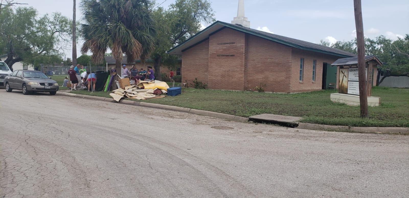 Surveying the damage in Iglesia Bautista Avondale