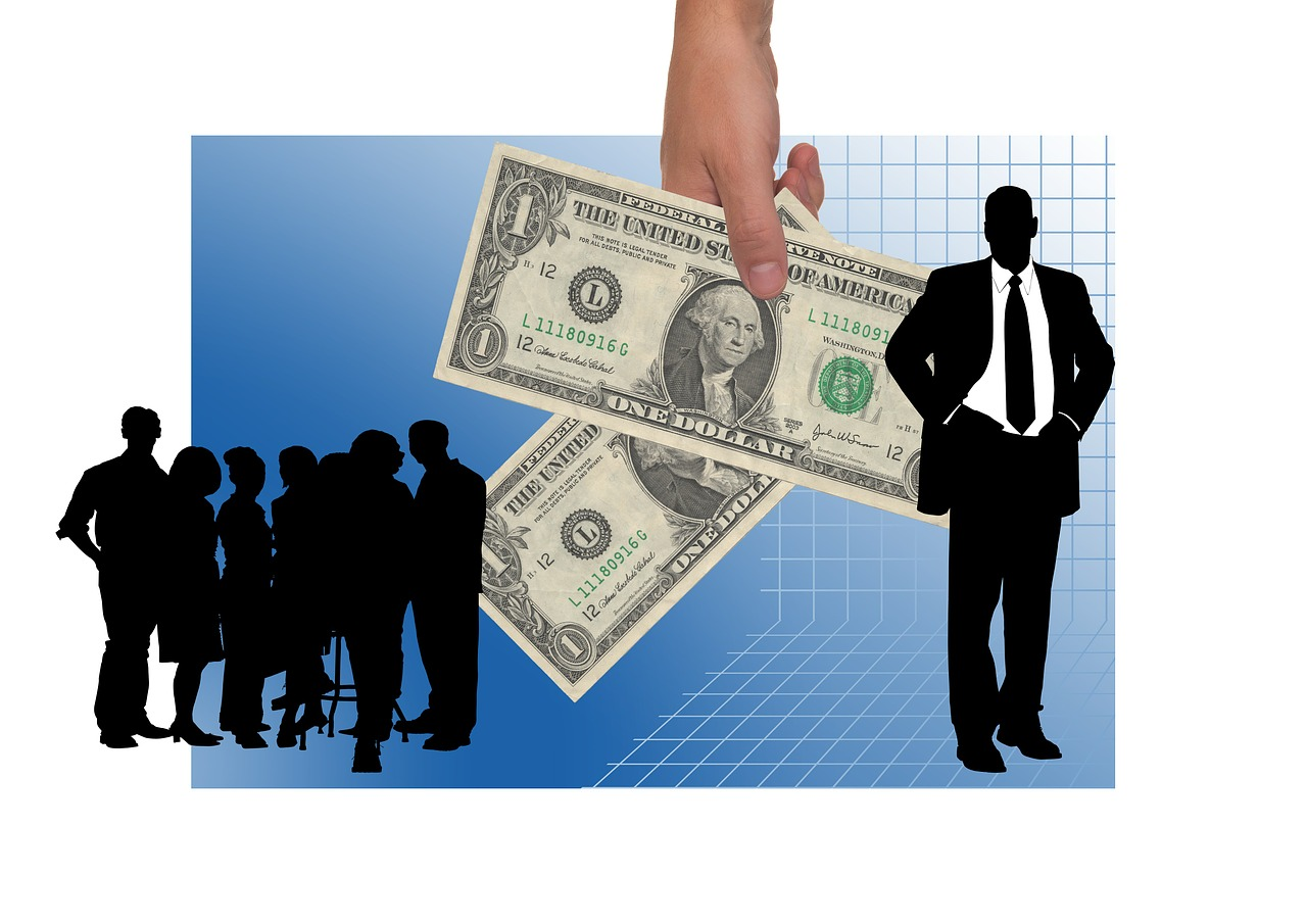 Business people and money