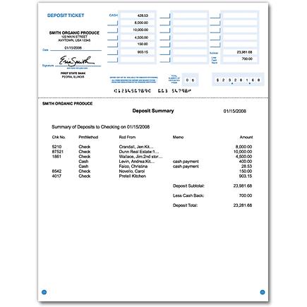 Printable Deposit Slips Quickbooks Checks Supplies