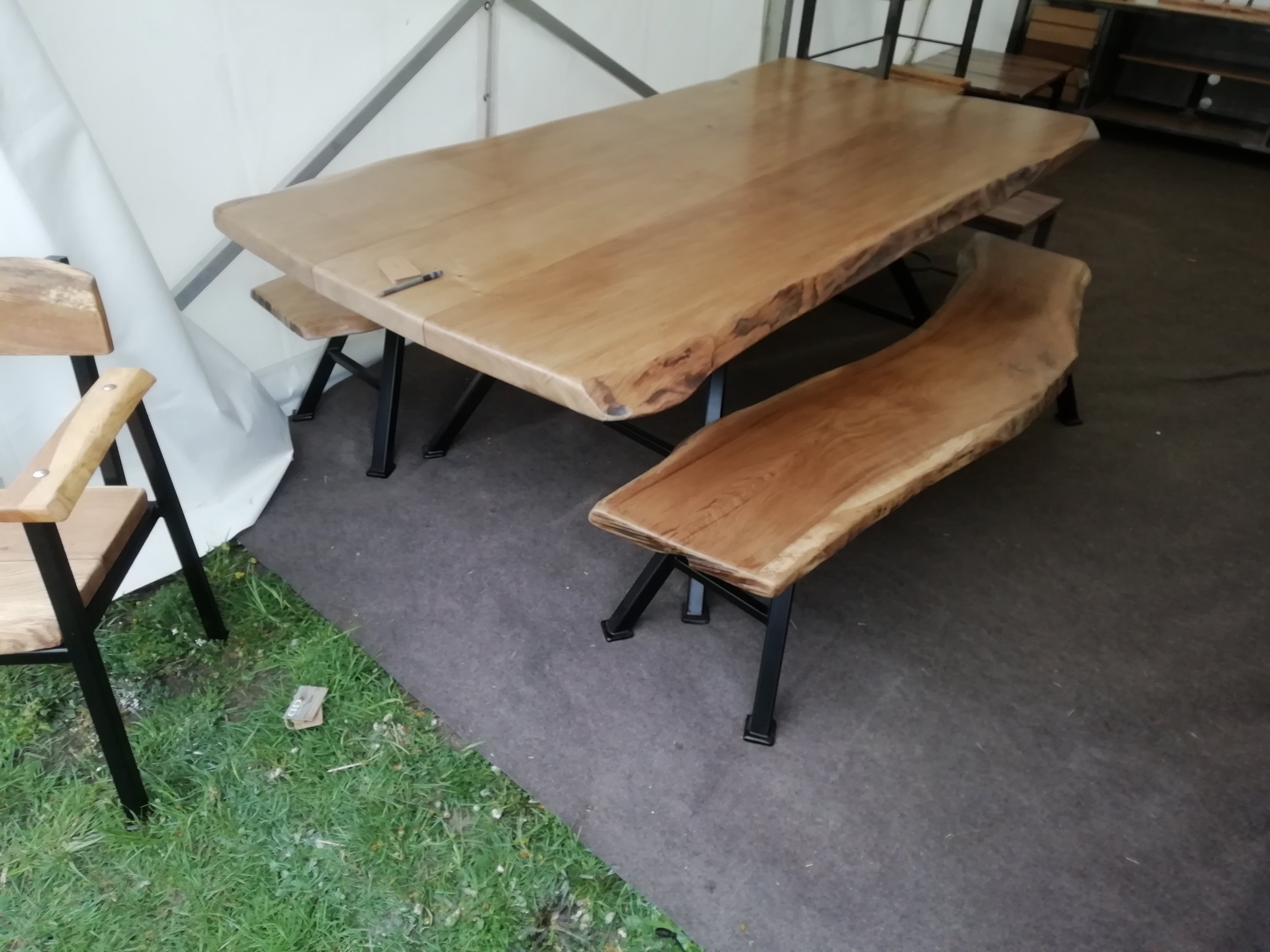 Our live edge Oak table and benches were by far our main attraction this year. -