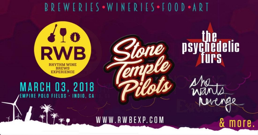 Saturday, March 3rd, 2018  The annual Rhythm, Wine & Brews Experience is presented by Empire Music Ventures, transforming the famous Empire Polo Fields into an artistic oasis. 2018 line up features grunge headliner Stone Temple Pilots as well as The Psychedelic Furs, She Wants Revenge and many more. Guest artist Emily Colvin will be creating an environment that attendees will be able to completely submerge themselves into. The installation is a feature that Emily and Alex Haagen have collaborated on specifically for the 7th annual RW&B event, bringing you the full experience.   Passes on sale at    rwbexp.com    The Rhythm, Wines & Brews Experience offers its audience the complete festival experience with great live bands, amazing art installations, exceptional craft beer and wine tasting, live cirque performers and on-site camping. A big part of the action is the beer and wine tasting offered by more than 100 craft breweries and wineries and the guest artists.   http://coachellavalleyweekly.com/stone-temple-pilots-headline-7th-annual-rhythm-wine-brews-experience/