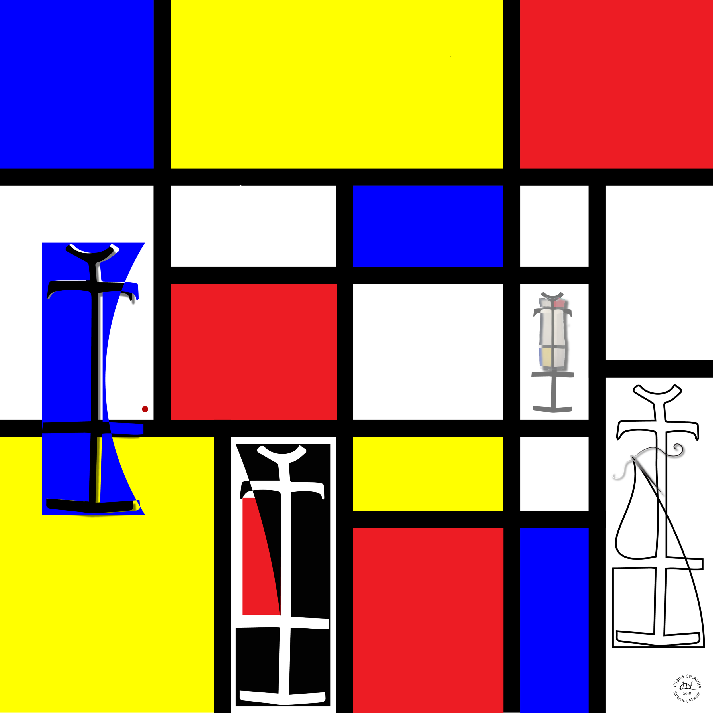 """Dressing Mondrian"" featuring the YSL classic Mondrian Dress."