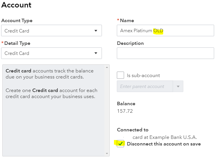 "Change the name so that you can use it again by adding additional text like ""OLD"" and check the box, ""Disconnect this account on save."""