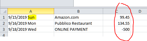 There are 2 problems with the exported CSV file that will need to be fixed. In the date column, Amex includes the 3-digit day. This will prevent the spreadsheet from being uploaded into QuickBooks. The other problem is that the signs for the amounts are reversed. Charges should show as negative and payments should be positive.
