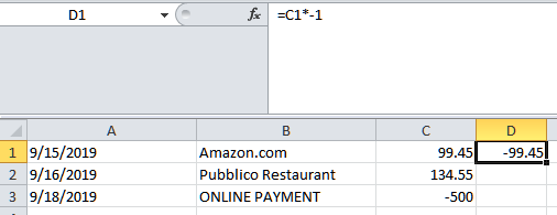 In the column next to the amount, enter = and cell with the amount on the first row and multiple (*) by -1.