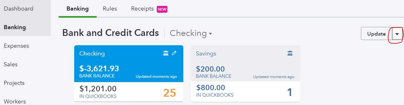 Back in QuickBooks, go to Banking and click on chevron next to Update and select File upload.