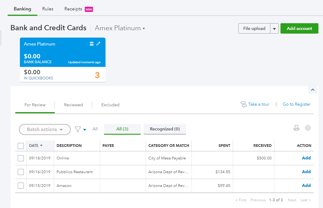 Now you can add all the transactions to QuickBooks.