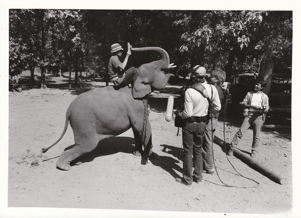 "Skip and crew in Thailand working on the documentary ""Elephant Games"" (1985)"